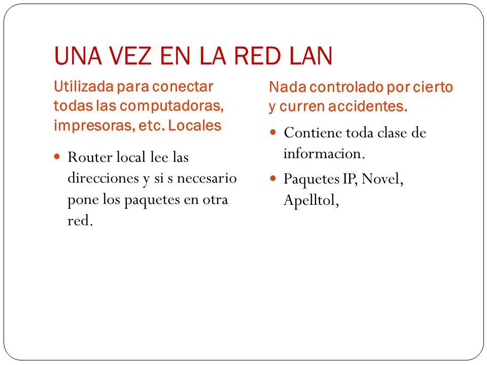 UNA VEZ EN LA RED LAN Contiene toda clase de informacion.