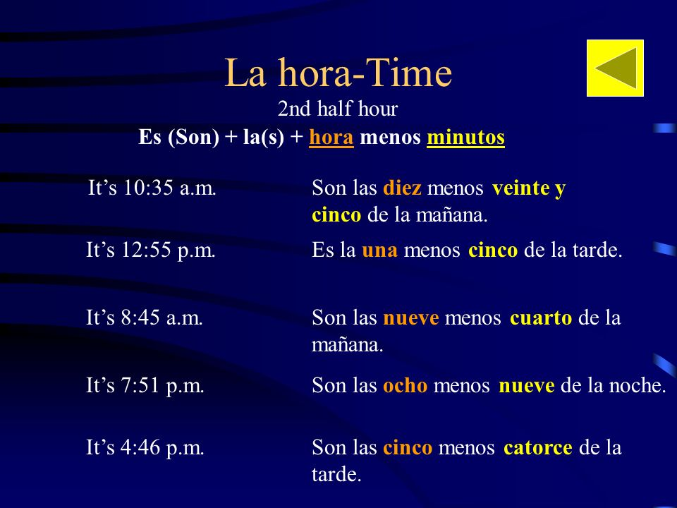 Es (Son) + la(s) + hora menos minutos