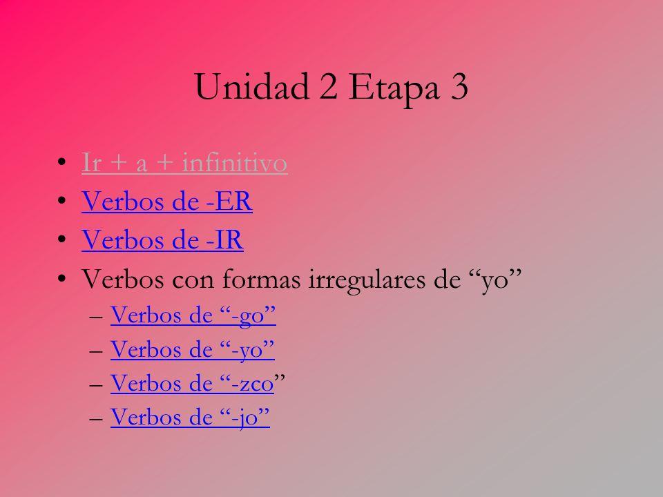 Unidad 2 Etapa 3 Ir + a + infinitivo Verbos de -ER Verbos de -IR