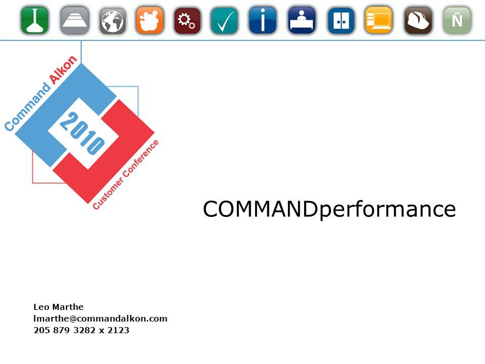 Leo Marthe lmarthe@commandalkon.com 205 879 3282 x 2123