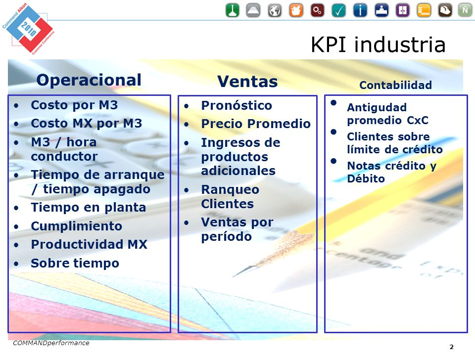 KPI industria Operacional Ventas Contabilidad Antigudad promedio CxC