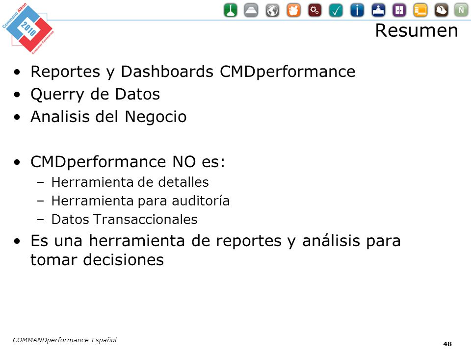 Resumen Reportes y Dashboards CMDperformance Querry de Datos