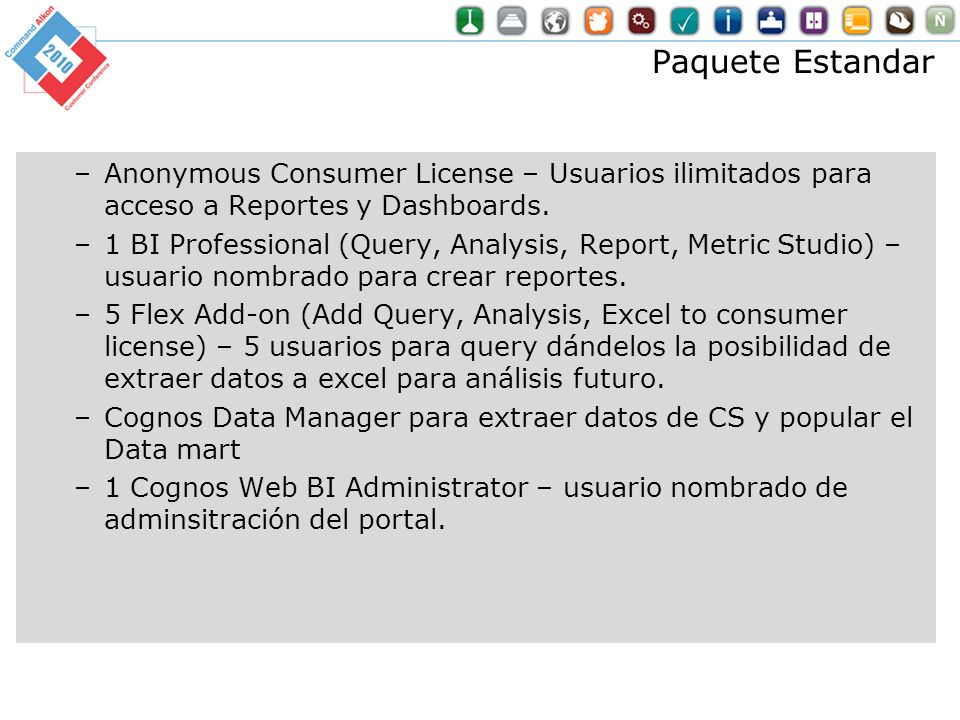 Paquete Estandar Anonymous Consumer License – Usuarios ilimitados para acceso a Reportes y Dashboards.