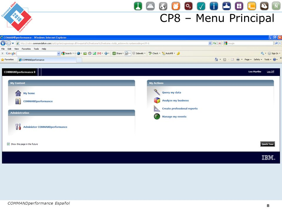 CP8 – Menu Principal COMMANDperformance Español