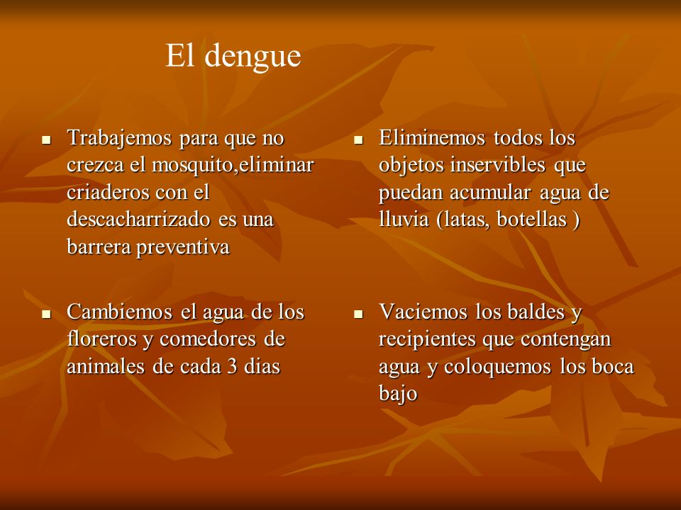 El dengueTrabajemos para que no crezca el mosquito,eliminar criaderos con el descacharrizado es una barrera preventiva.