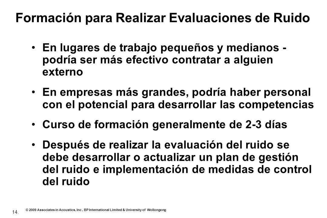 Formación para Realizar Evaluaciones de Ruido