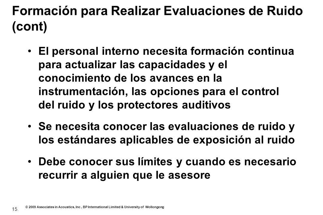 Formación para Realizar Evaluaciones de Ruido (cont)