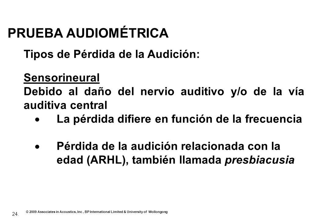 PRUEBA AUDIOMÉTRICA Tipos de Pérdida de la Audición: Sensorineural