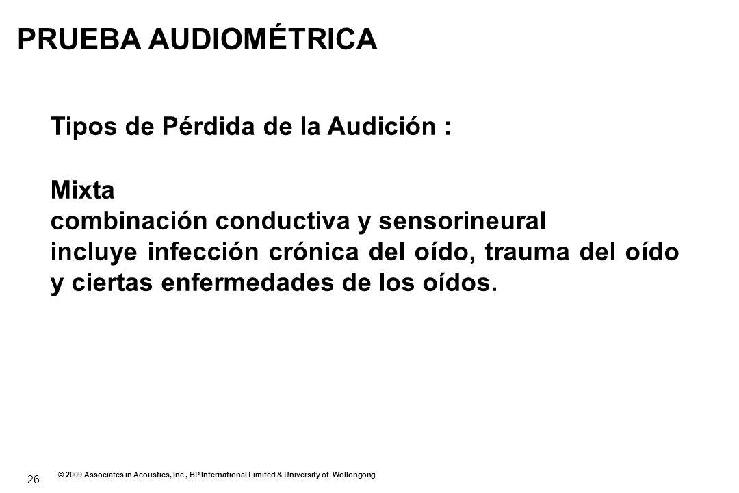 PRUEBA AUDIOMÉTRICA Tipos de Pérdida de la Audición : Mixta