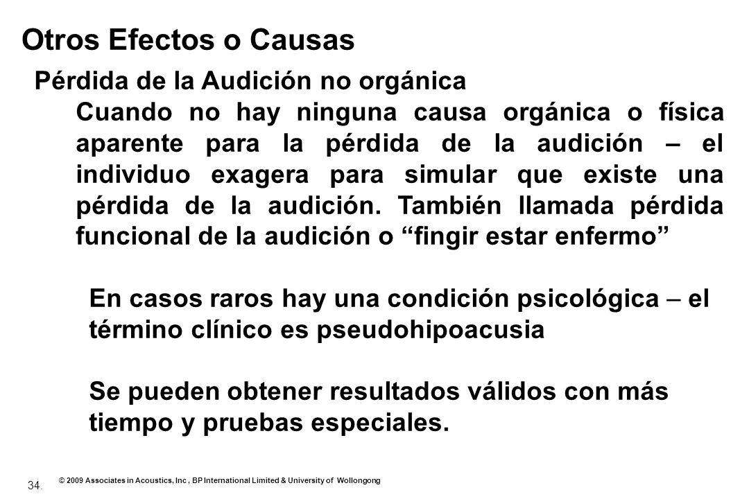 Otros Efectos o Causas Pérdida de la Audición no orgánica