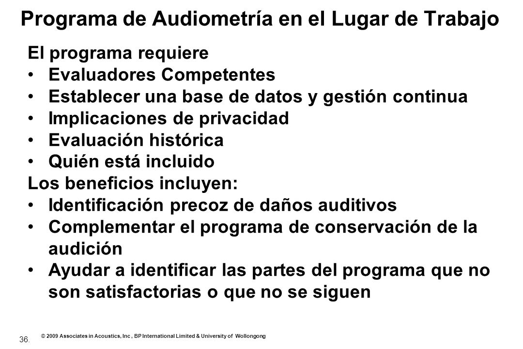 Programa de Audiometría en el Lugar de Trabajo