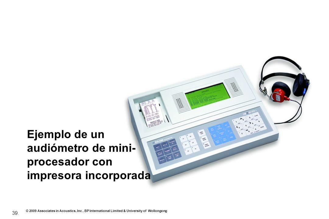 Ejemplo de un audiómetro de mini-procesador con impresora incorporada