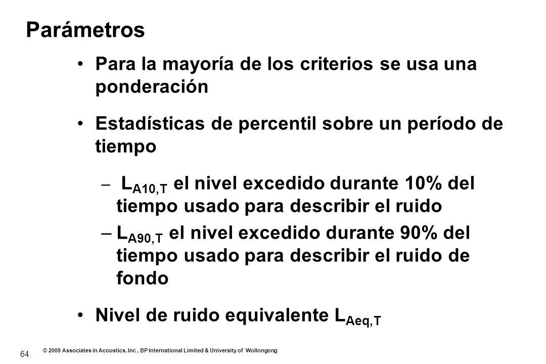 Parámetros Para la mayoría de los criterios se usa una ponderación