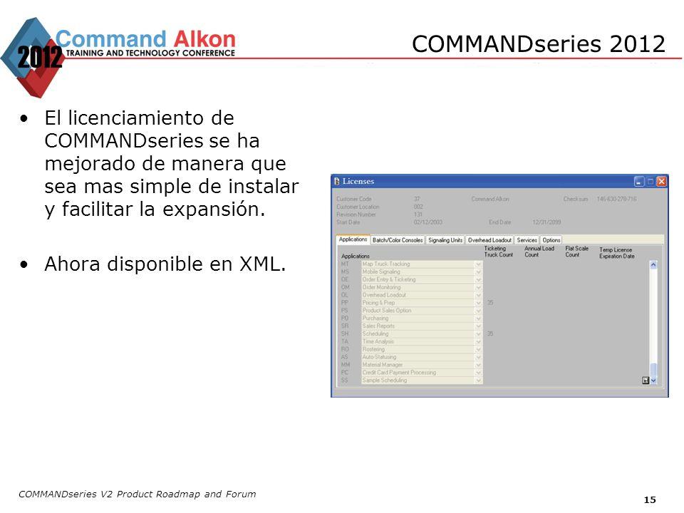 COMMANDseries 2012 El licenciamiento de COMMANDseries se ha mejorado de manera que sea mas simple de instalar y facilitar la expansión.