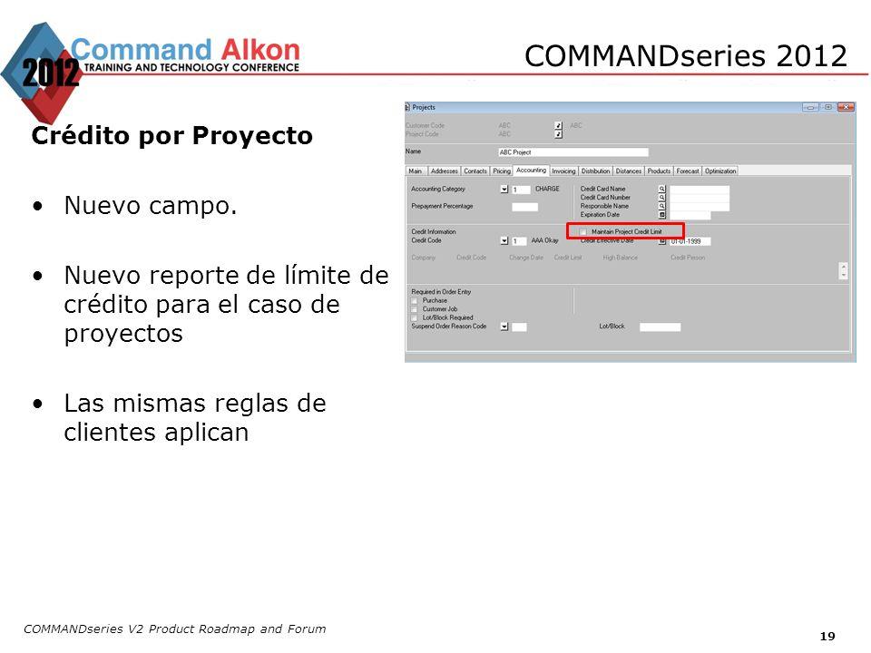 COMMANDseries 2012 Crédito por Proyecto Nuevo campo.