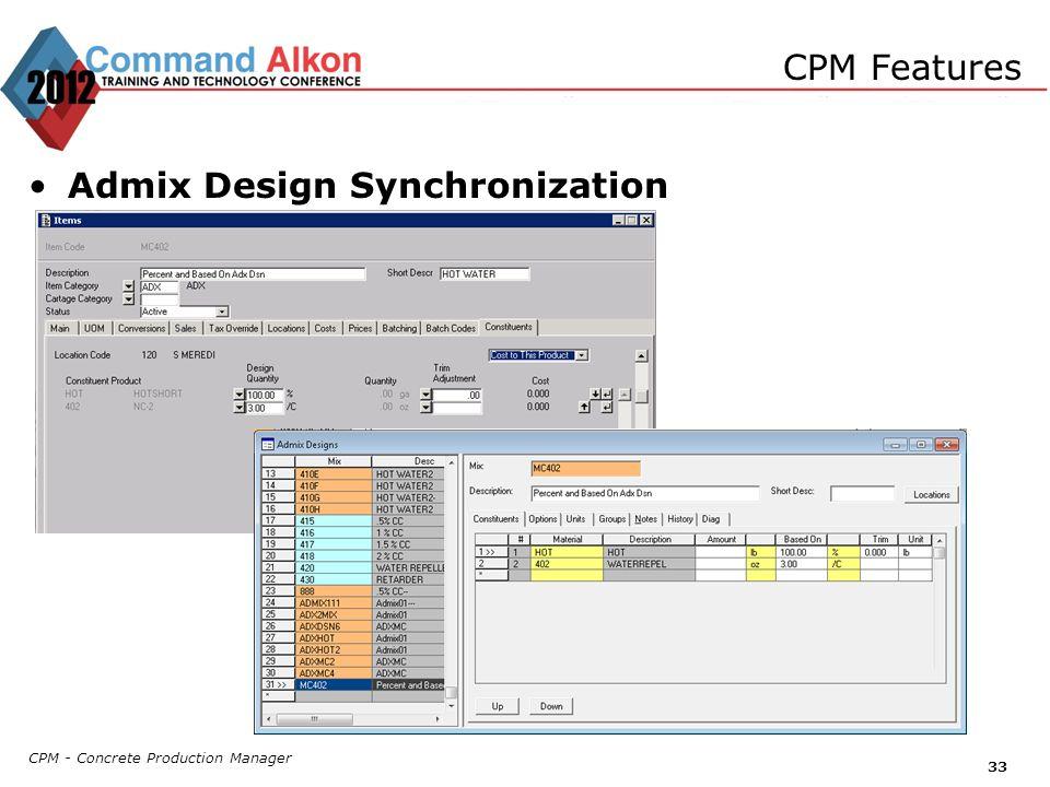 Admix Design Synchronization