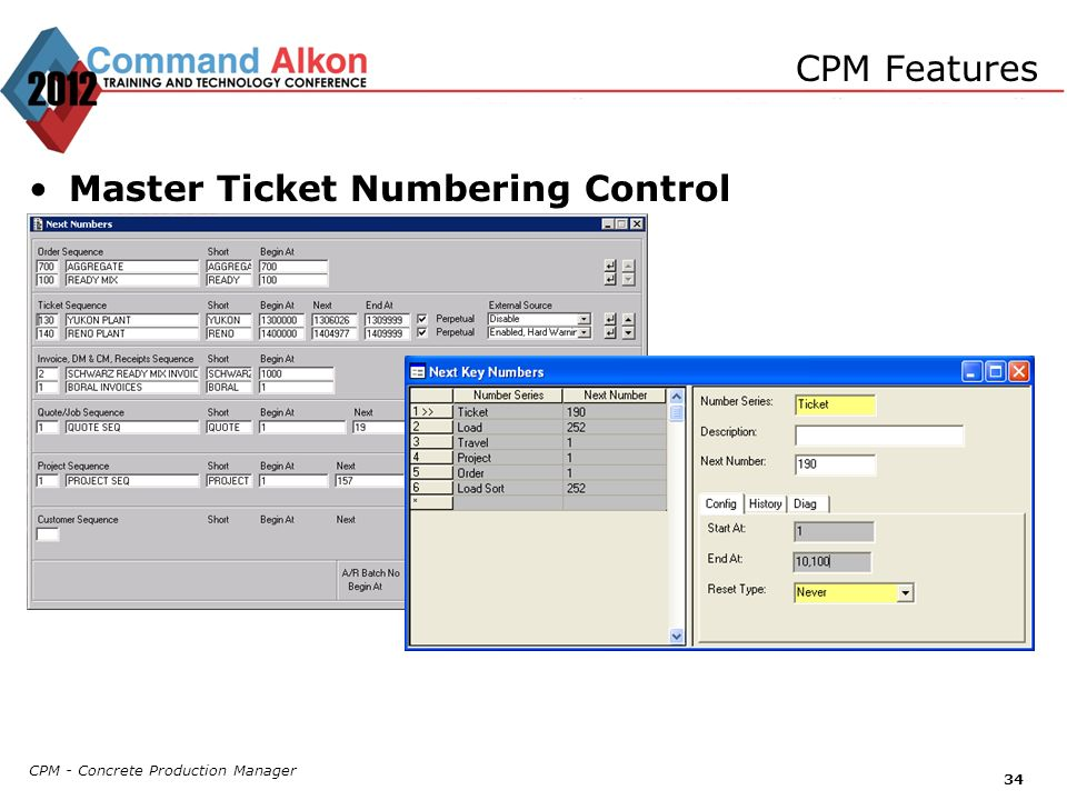 Master Ticket Numbering Control