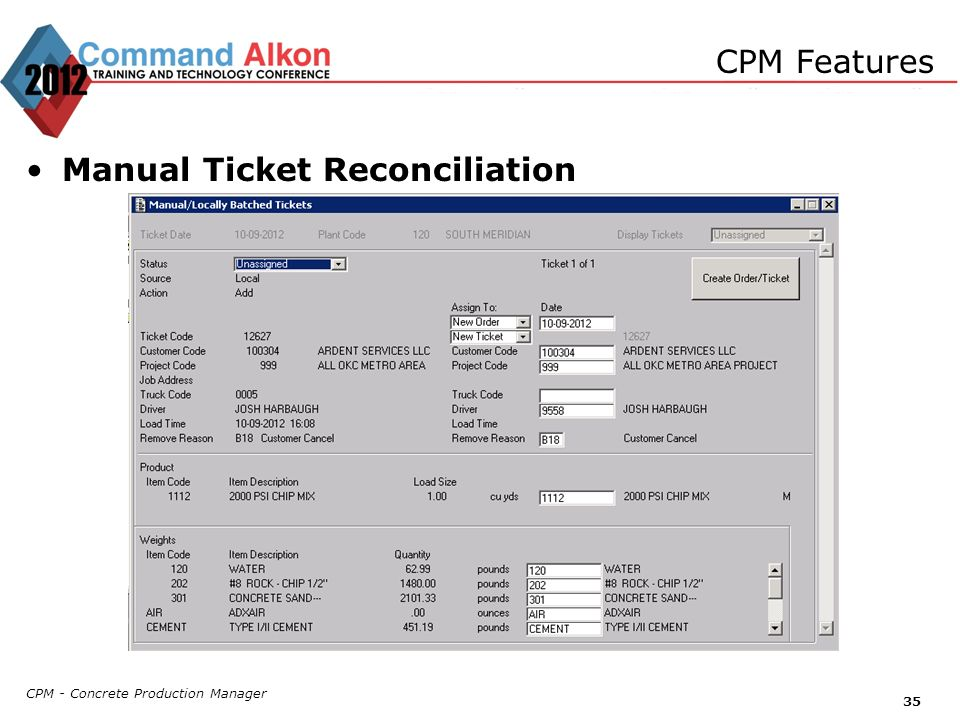 Manual Ticket Reconciliation