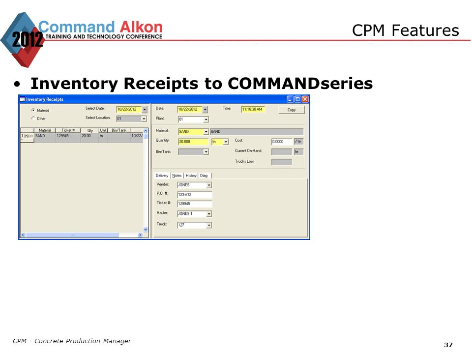 Inventory Receipts to COMMANDseries