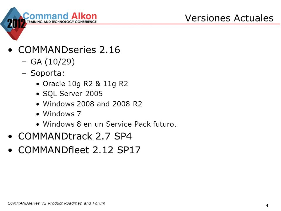 Versiones Actuales COMMANDseries 2.16 COMMANDtrack 2.7 SP4