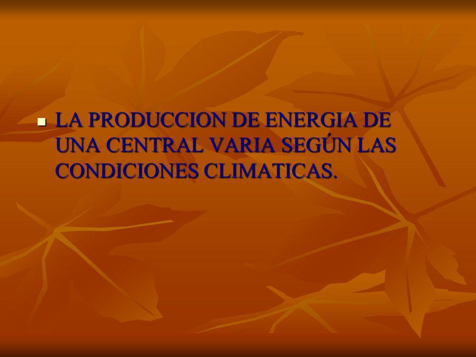 LA PRODUCCION DE ENERGIA DE UNA CENTRAL VARIA SEGÚN LAS CONDICIONES CLIMATICAS.