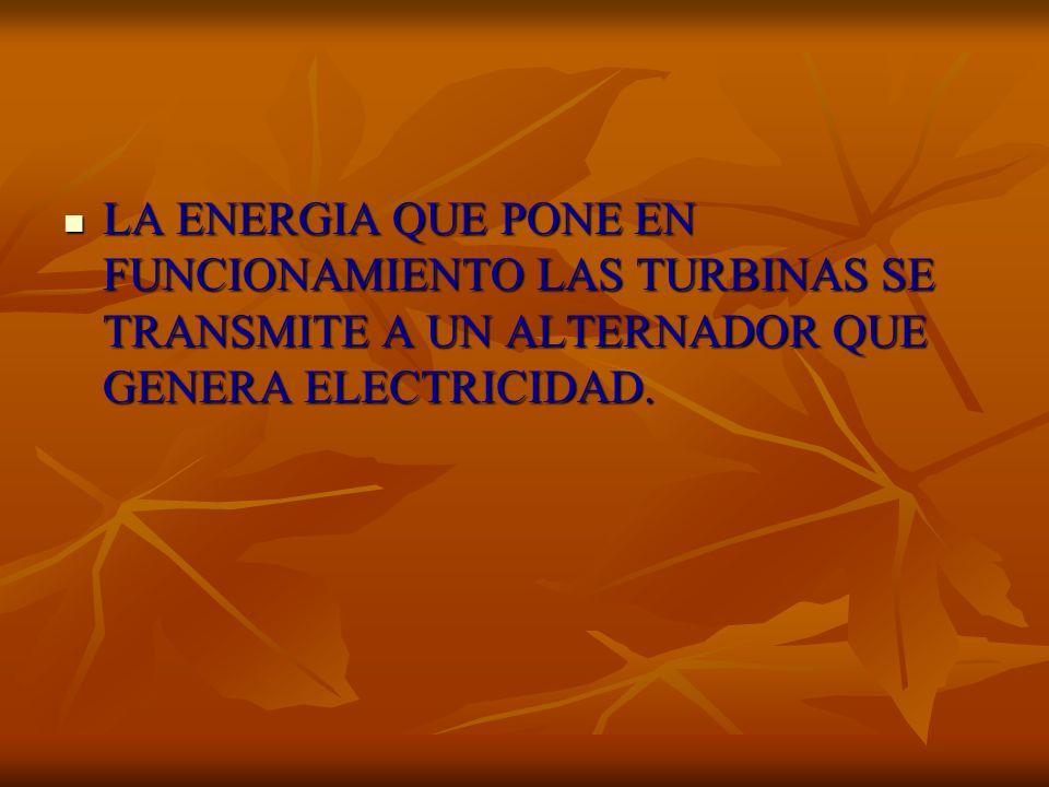 LA ENERGIA QUE PONE EN FUNCIONAMIENTO LAS TURBINAS SE TRANSMITE A UN ALTERNADOR QUE GENERA ELECTRICIDAD.
