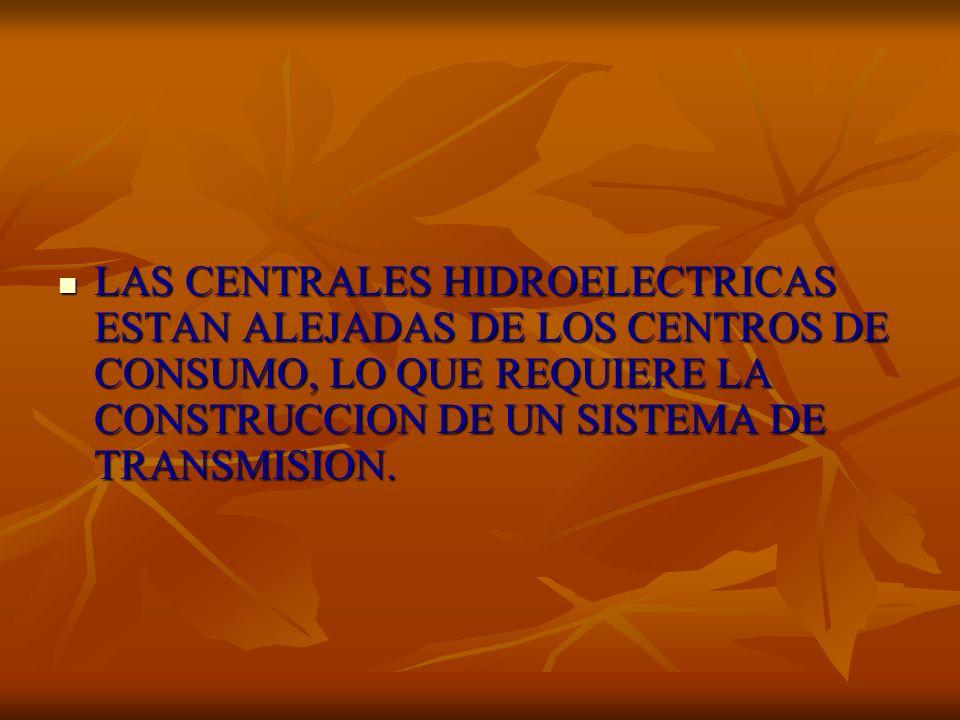 LAS CENTRALES HIDROELECTRICAS ESTAN ALEJADAS DE LOS CENTROS DE CONSUMO, LO QUE REQUIERE LA CONSTRUCCION DE UN SISTEMA DE TRANSMISION.