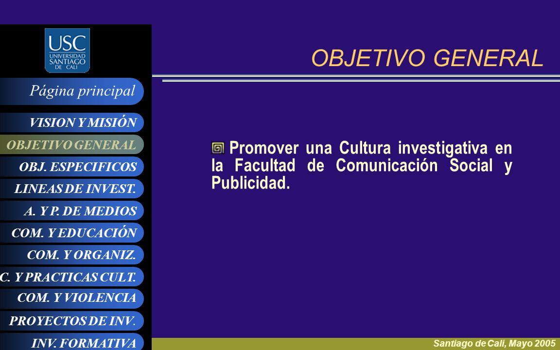 OBJETIVO GENERAL Promover una Cultura investigativa en la Facultad de Comunicación Social y Publicidad.