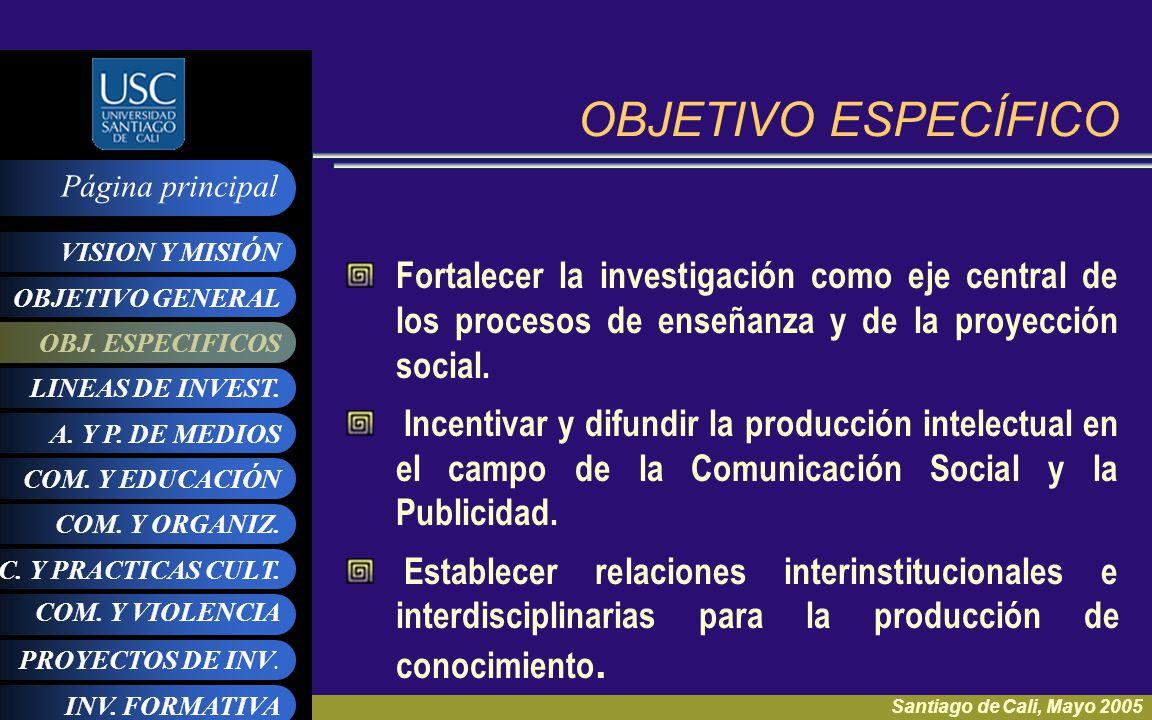OBJETIVO ESPECÍFICO Fortalecer la investigación como eje central de los procesos de enseñanza y de la proyección social.