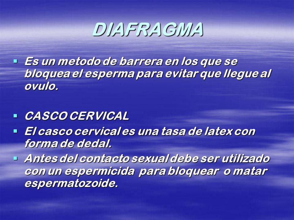 DIAFRAGMA Es un metodo de barrera en los que se bloquea el esperma para evitar que llegue al ovulo.