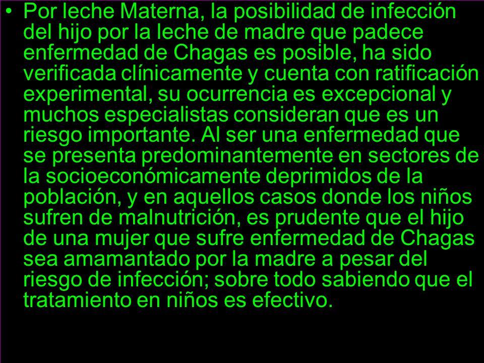 Por leche Materna, la posibilidad de infección del hijo por la leche de madre que padece enfermedad de Chagas es posible, ha sido verificada clínicamente y cuenta con ratificación experimental, su ocurrencia es excepcional y muchos especialistas consideran que es un riesgo importante.