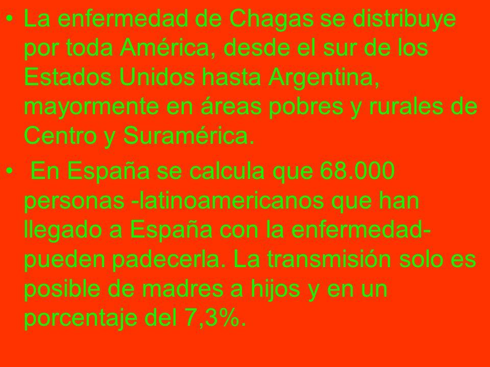 La enfermedad de Chagas se distribuye por toda América, desde el sur de los Estados Unidos hasta Argentina, mayormente en áreas pobres y rurales de Centro y Suramérica.