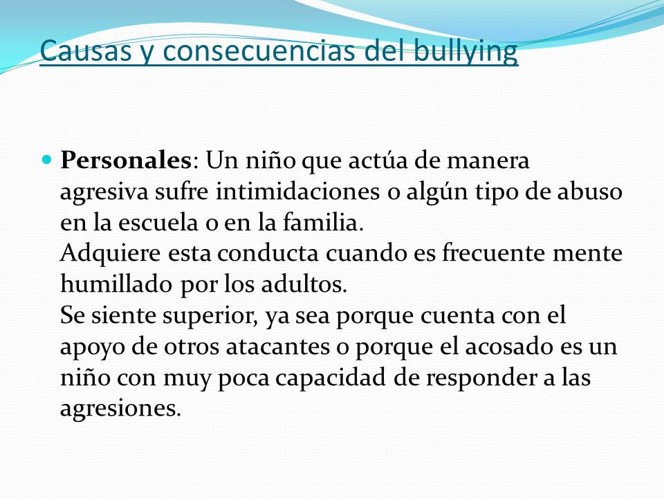 Causas y consecuencias del bullying