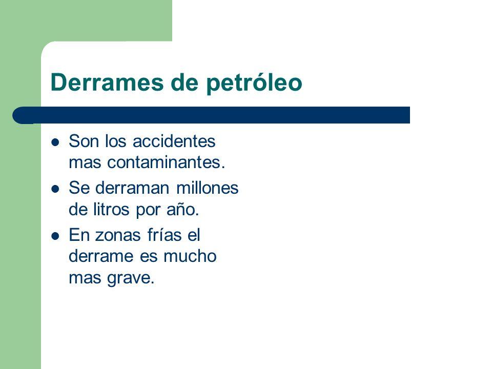 Derrames de petróleo Son los accidentes mas contaminantes.