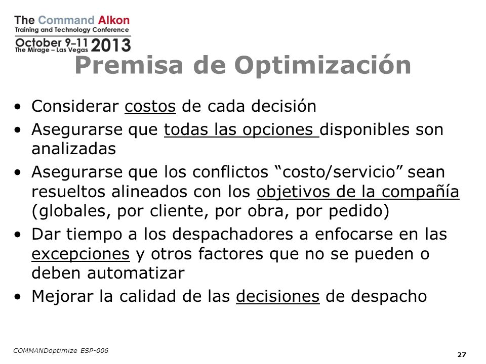 Premisa de Optimización