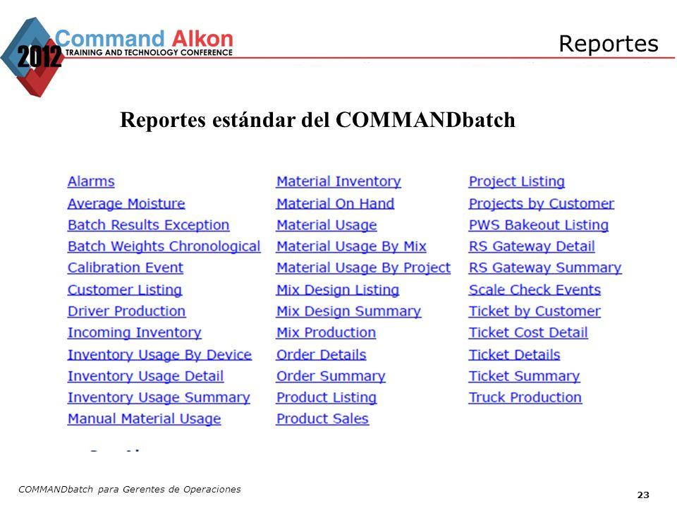 Reportes estándar del COMMANDbatch