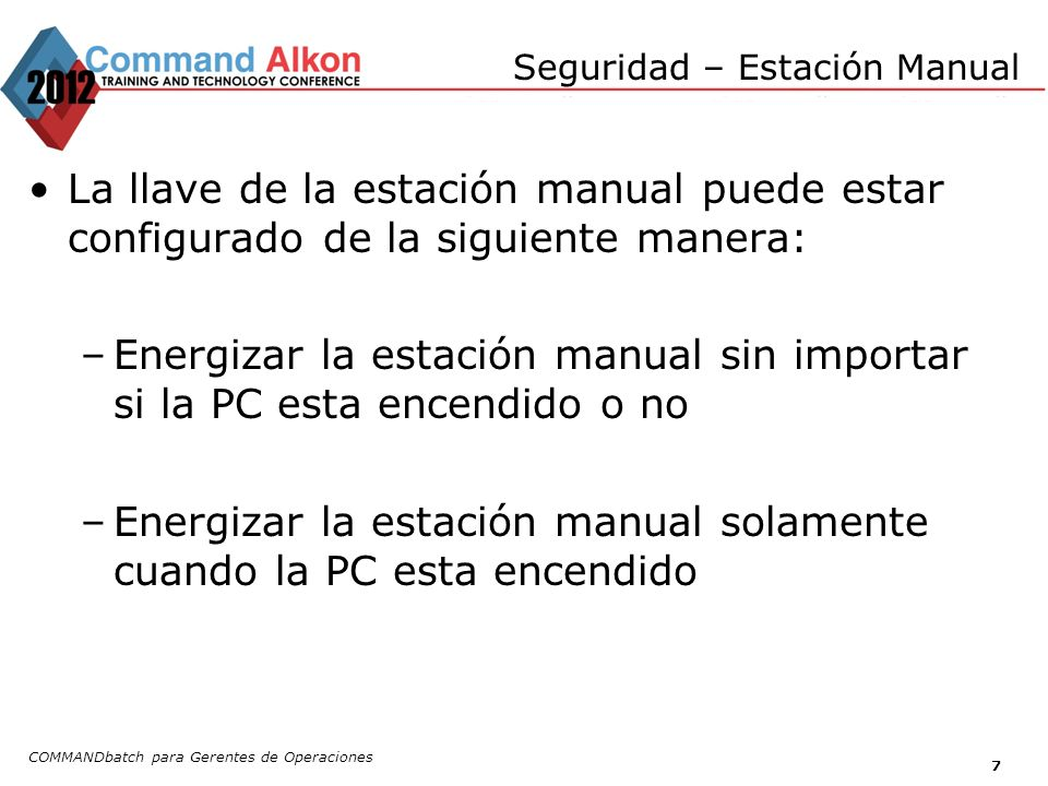 Seguridad – Estación Manual