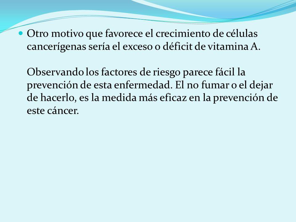 Otro motivo que favorece el crecimiento de células cancerígenas sería el exceso o déficit de vitamina A.