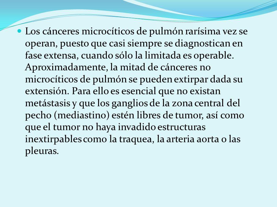 Los cánceres microcíticos de pulmón rarísima vez se operan, puesto que casi siempre se diagnostican en fase extensa, cuando sólo la limitada es operable.