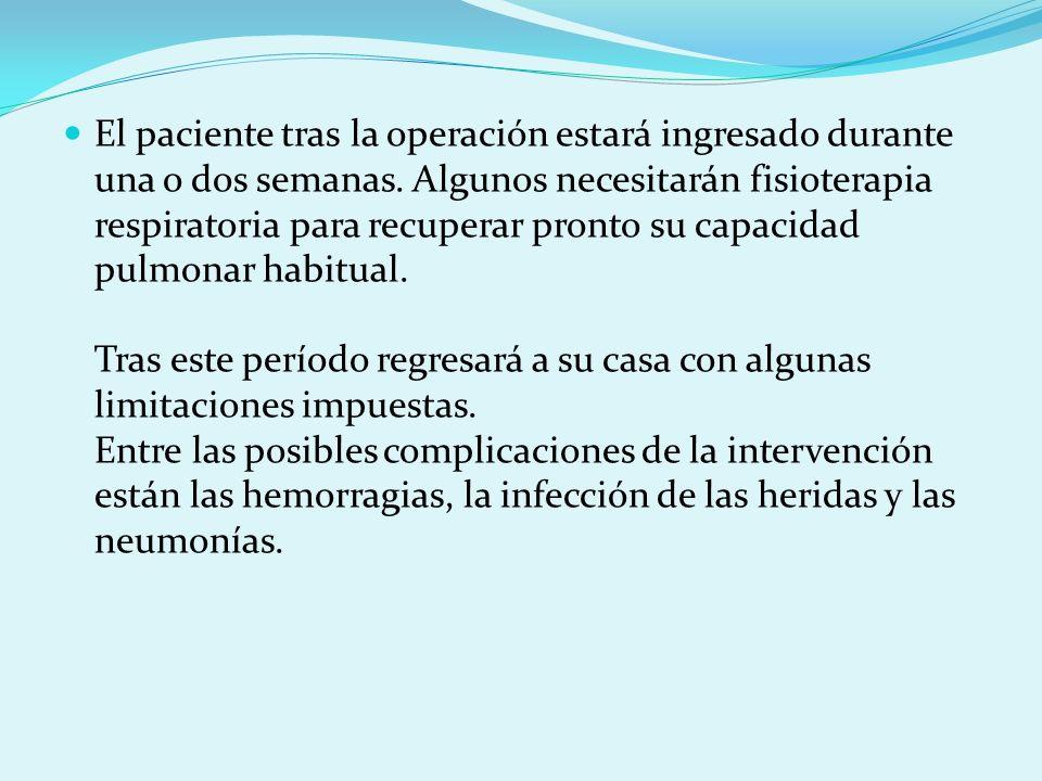 El paciente tras la operación estará ingresado durante una o dos semanas.