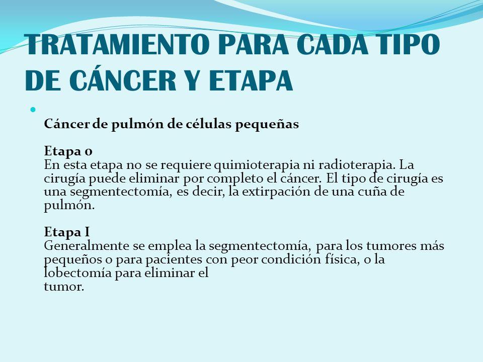 TRATAMIENTO PARA CADA TIPO DE CÁNCER Y ETAPA