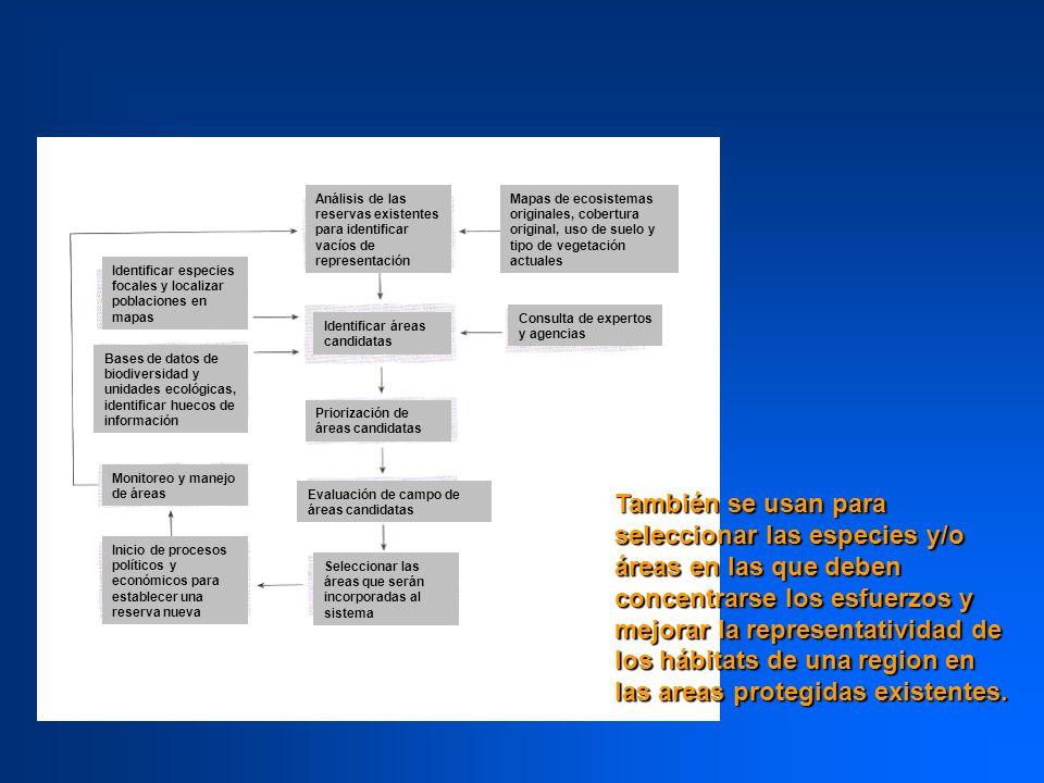 Análisis de las reservas existentes para identificar vacíos de representación
