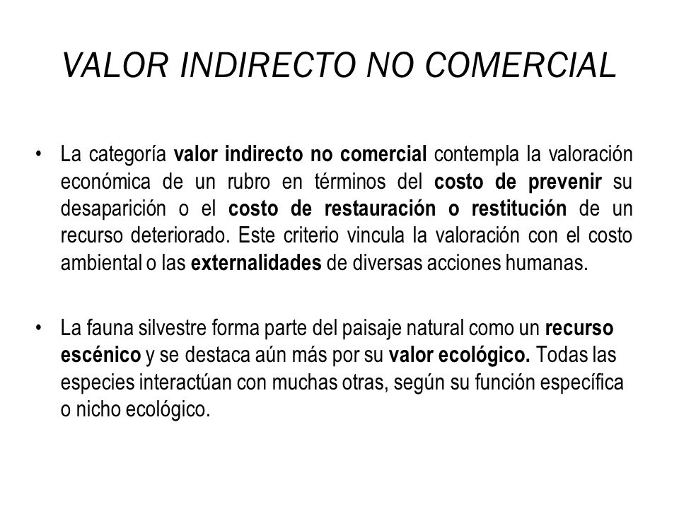 VALOR INDIRECTO NO COMERCIAL