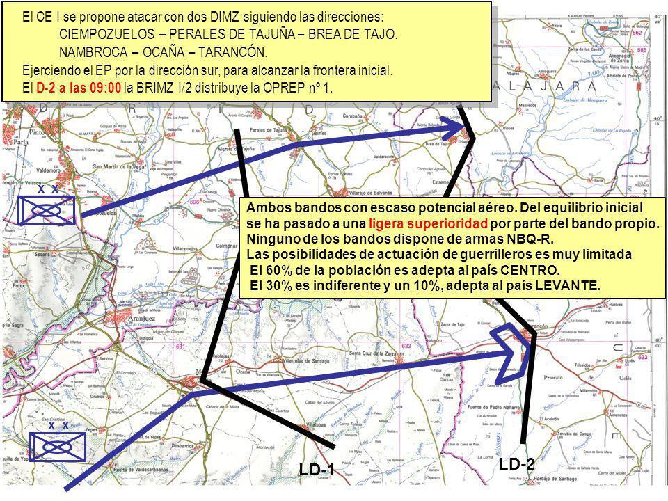 El CE I se propone atacar con dos DIMZ siguiendo las direcciones: