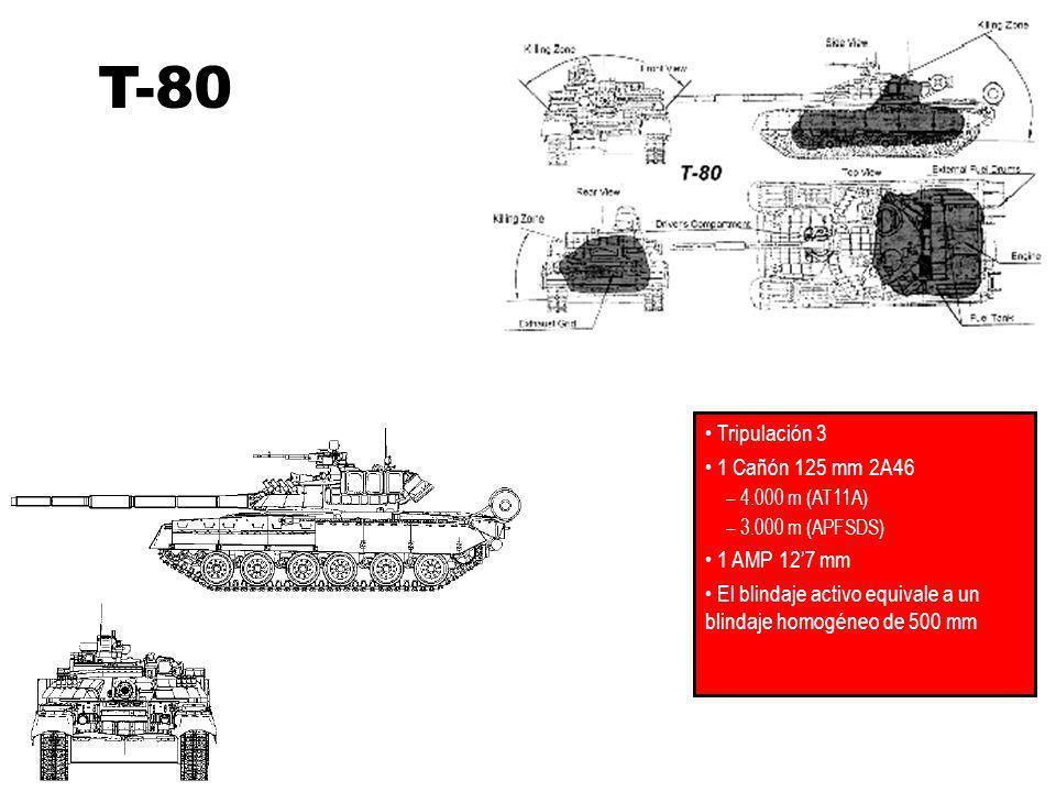 T-80 Tripulación 3 1 Cañón 125 mm 2A46 1 AMP 12'7 mm