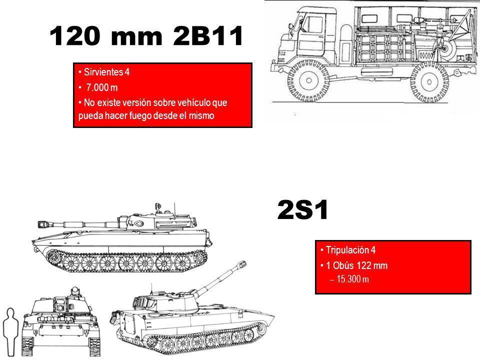 120 mm 2B11 Sirvientes 4. 7.000 m. No existe versión sobre vehículo que pueda hacer fuego desde el mismo.