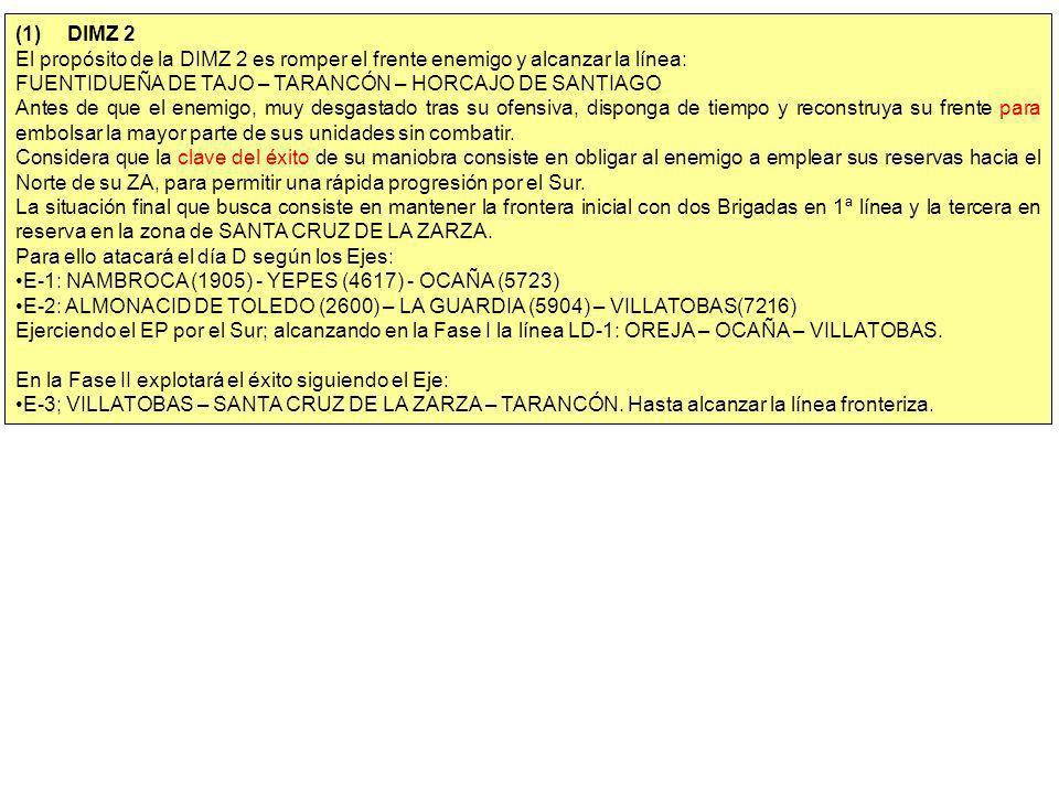 (1) DIMZ 2 El propósito de la DIMZ 2 es romper el frente enemigo y alcanzar la línea: FUENTIDUEÑA DE TAJO – TARANCÓN – HORCAJO DE SANTIAGO.