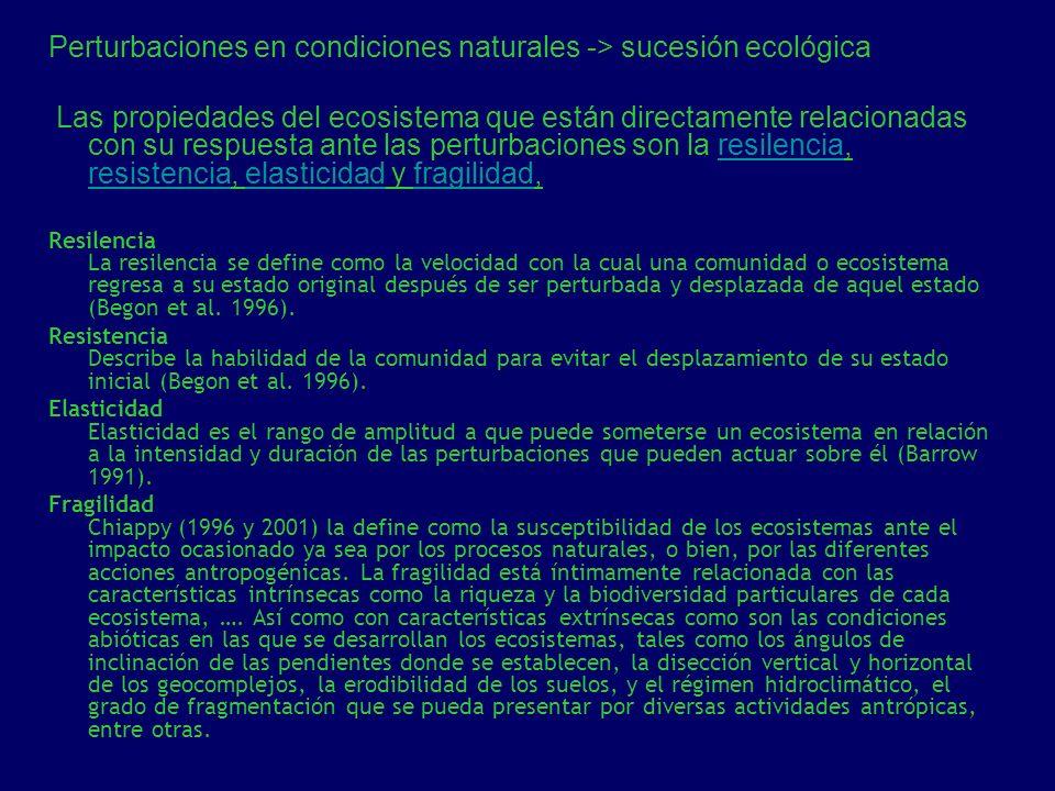 Perturbaciones en condiciones naturales -> sucesión ecológica