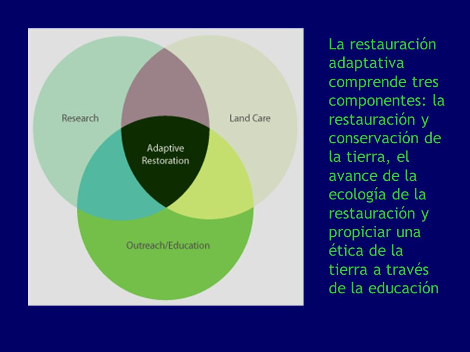 La restauración adaptativa comprende tres componentes: la restauración y conservación de la tierra, el avance de la ecología de la restauración y propiciar una ética de la tierra a través de la educación