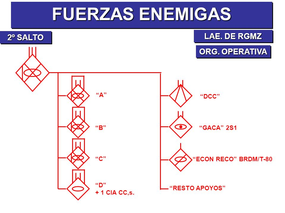FUERZAS ENEMIGAS LAE. DE RGMZ 2º SALTO ORG. OPERATIVA A DCC B